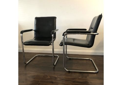 Vintage Leather + Chrome Cantilever Armchairs, Set Of 2, 1970s