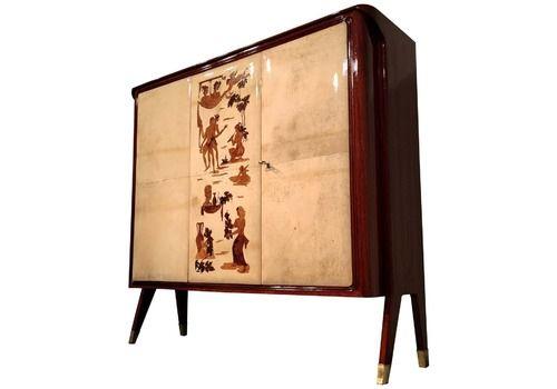 Italian Mid Century Parchment Cabinet Bar By Vittorio Dassi, 1950s