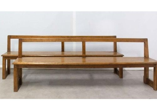 Pair Of French Antique Style Farmhouse Benches With Back, Circa 1970