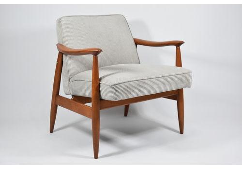 Vintage Original Armchair, Model Gfm 87, Restored, Grey Corduroy
