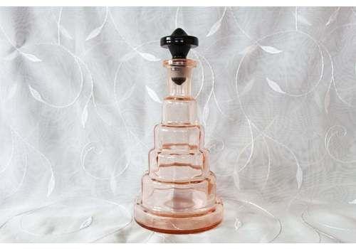 Large Vintage Art Deco Vanity Bottle, Perfume Bottle, Decanter, Bath Salt, Pink Glass, Black Glass Top, Geometric Design. Handmade, Paris