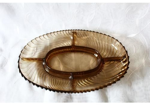 Vintage French Smoke Glass Serving Tray, 5 Part Divided Snack Dish, Relish Dish, Style Of Veropa France, Op Art Swirl Design, Ribbed Glass