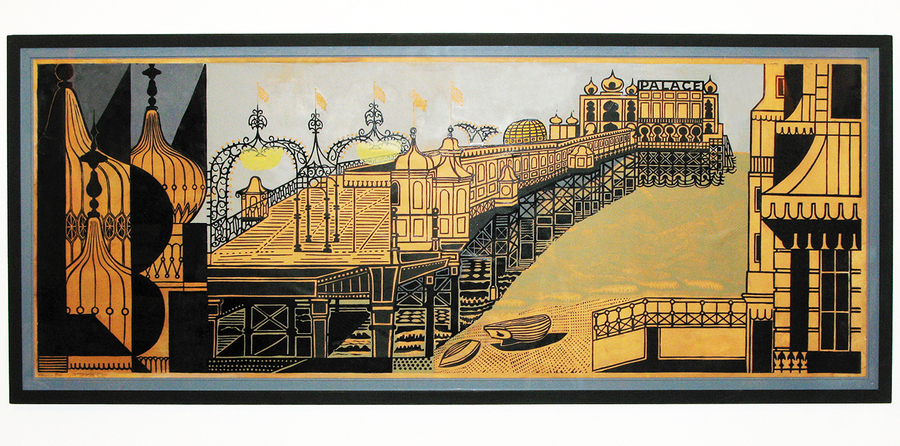 Edward Bawden Brighton Pier Linocut