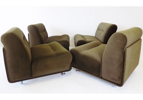Cor Concha Set Of 4 Brown Modular Armchairs By Jo Otterpohl