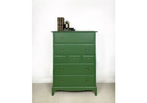 Stag Tallboy Chest Of Drawers In Green