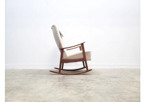 Mid Century Danish Teak Rocking Chair From 1960's In Beige