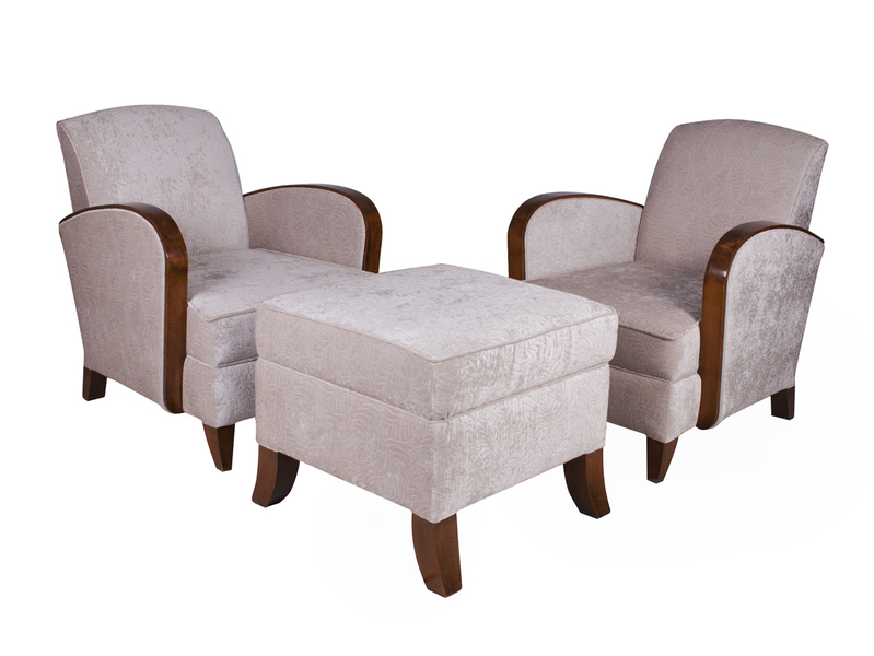 A Pair Of Art Deco Salon Chairs With Ottoman