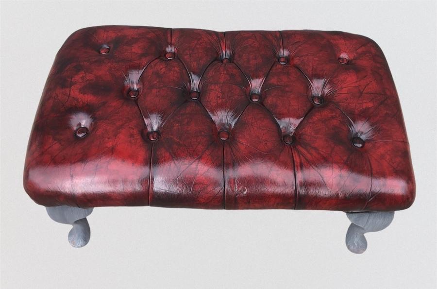 Stunning Vintage Chesterfield Style Footstool / Leather Stool photo 149.0