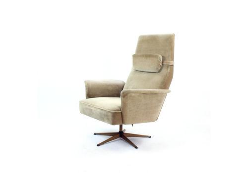 Midcentury Swivel Armchair In Silver Velvet, Czechoslovakia 1960s