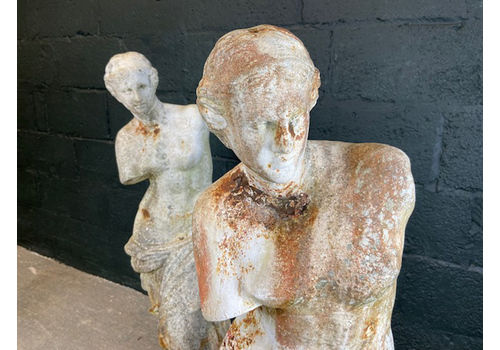 Pair Of Early 20th Century Cast Iron Statues Of Venus De Milo (Aphrodite).