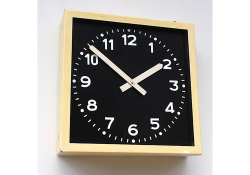 1950s Heavy Steel West German Vintage Factory Wall Clock. Fully Guaranteed