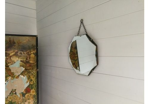 Vintage Frameless Wall Mirror Bevelled Edge Octagonal Shape 30s