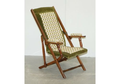 VI Ctorian Military Campaign Folding Chair Steamer Liner Piece Embroidered Fabric