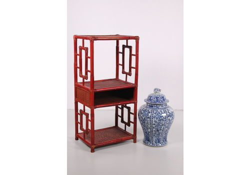 Chinese 19th Century Tray Or Room Divider Made Of Bamboo. Old Red
