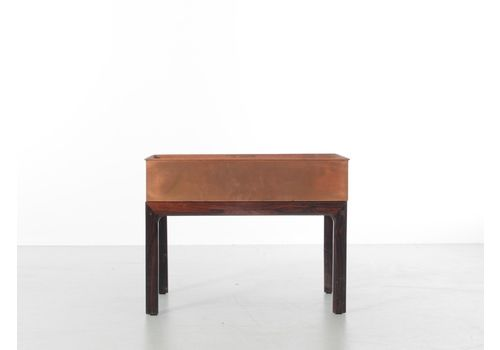 Mid Century  Modern Scandinavian Planter In Rio Rosewood And Copper By Arne Wahl Iversen
