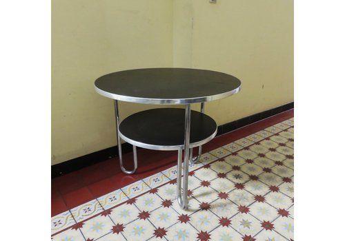 Bauhaus Metal And Black Linoleum Loop Side Table From Mauser Werke Waldeck