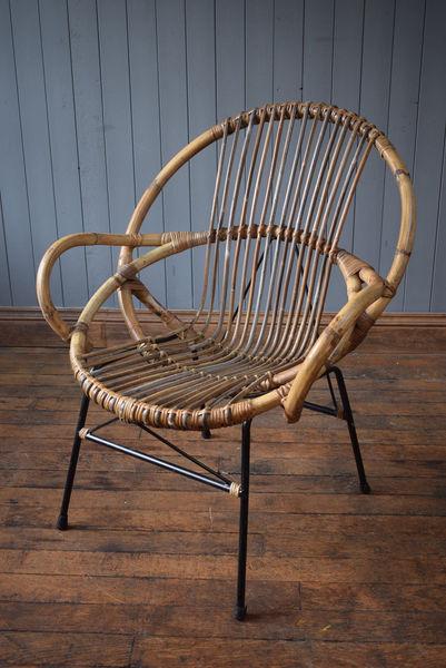 Xl Vintage Satellite Circle Bamboo Cane Wicker Rattan Tub Chair Mid Century