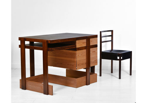 Modernist Bombay Rosewood & Scrub Pine Desk + Chair By George Sneed Circa 1970s