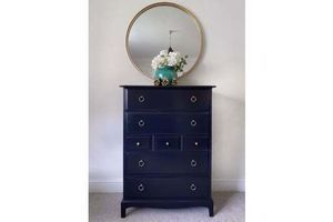 Thumb navy blue stag tallboy chest of drawers 1980s stag 0