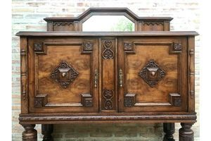 Thumb 19th century catalan spanish buffet with two doors and mirror crest 1800s 0