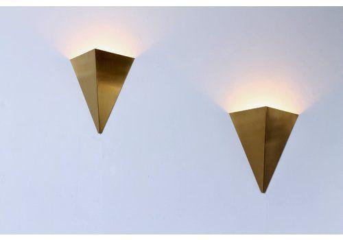 Brass Pyramid Kite Sconces By J. J. M. Hoogervorst For Anvia, 1960s, Set Of 2
