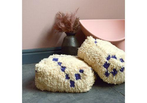 Original 1960s Vintage Moroccan Azilial Berber Wool Floor Cushions Pouffes