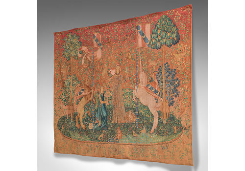 Large Antique Tapestry, French, Needlepoint, The Lady And The Unicorn, C.1920