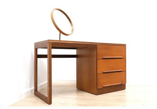 Midcentury Vintage Teak Younger Dressing Table Vanity With Mirror 1960's
