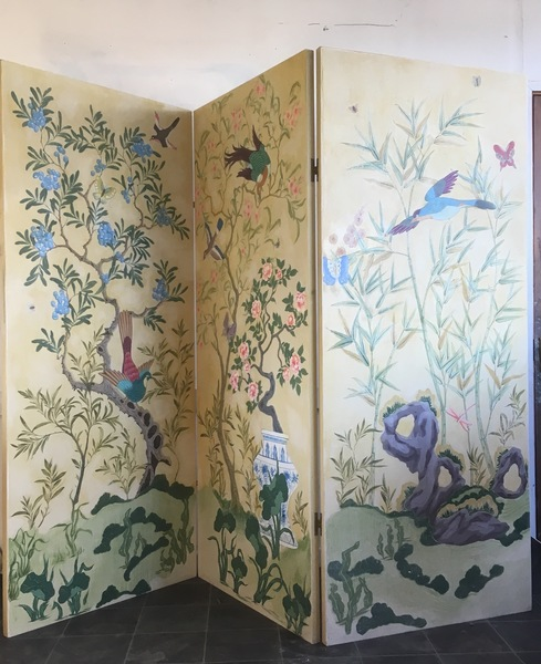 Room Divider, Screen, Panels, Maximalist, Bedhead, Chinese Chinoiserie Style 3 Panel, New