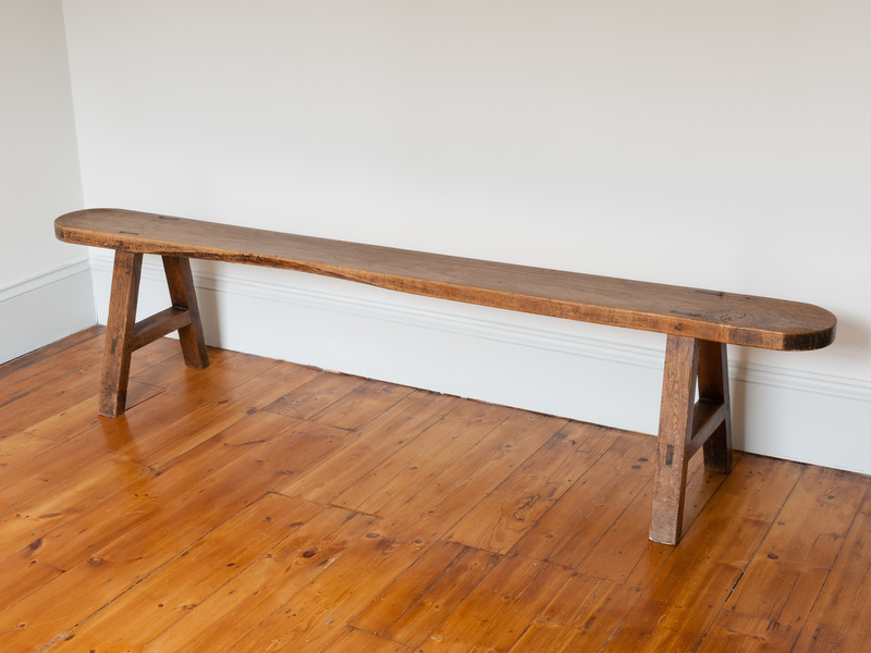 Antique Trestle Style French Oak Bench