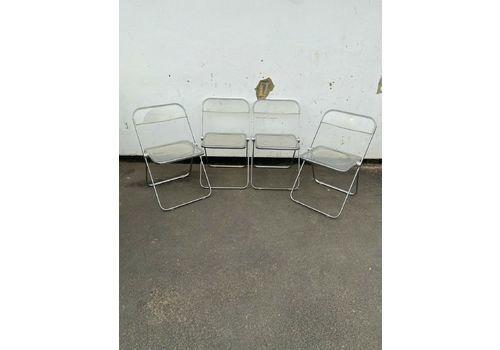 4 X Retro Castelli Gincarlo Pirette Plia Lucite Folding Chairs Italian