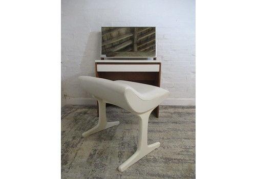 Retro 1960s/1970s Teak & White Laminate Small Dressing Table Vanity Set