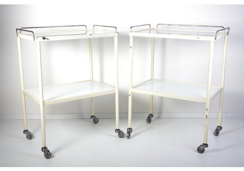 Mid Century Industrial Opaxit Glass Medical Trolley, 1960s