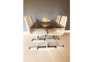 Thumb mid century smoked glass dining table 4 matching chairs by tim bates for pieff 1960s 0