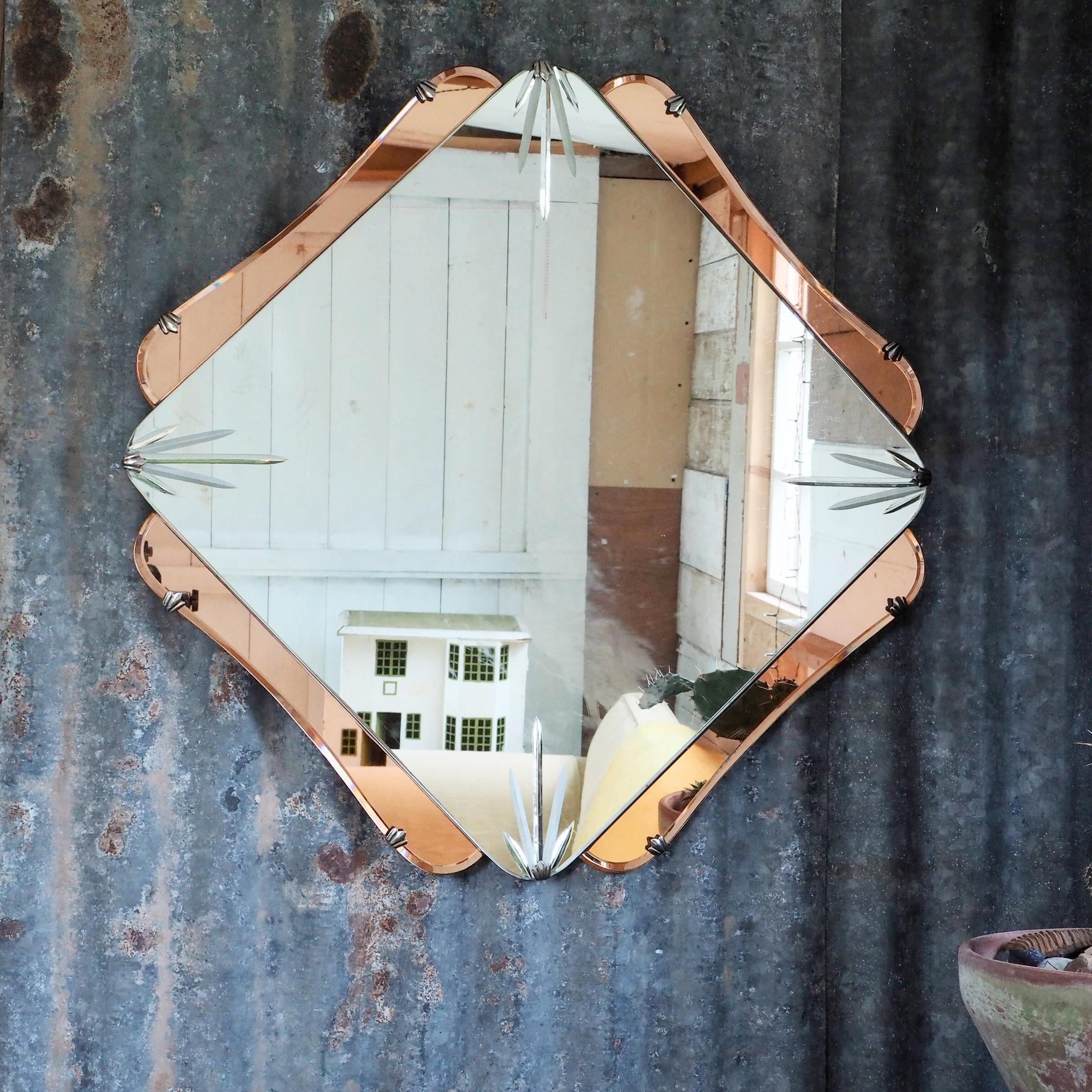 Art Deco Mirror Vintage Mirror Antique Mirror 1920s Mirror Peach Mirror Vinterior