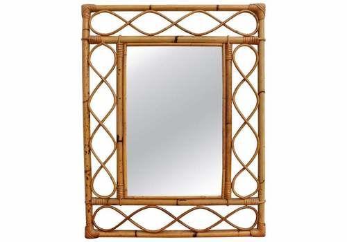 Rectangular French Rattan Wall Mirror (Circa 1960s)