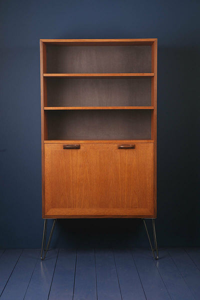 G Plan Sierra 1960s Teak Grey Drinks Cabinet Bookcase