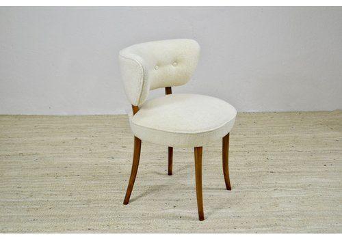 Pretty Boucle And Walnut Chair. Danish Mid Century