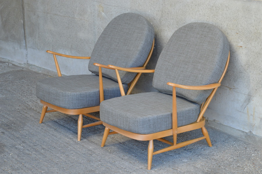 Pair Of Ercol 203 Windsor Armchairs Newly Upholstered In Soft Grey
