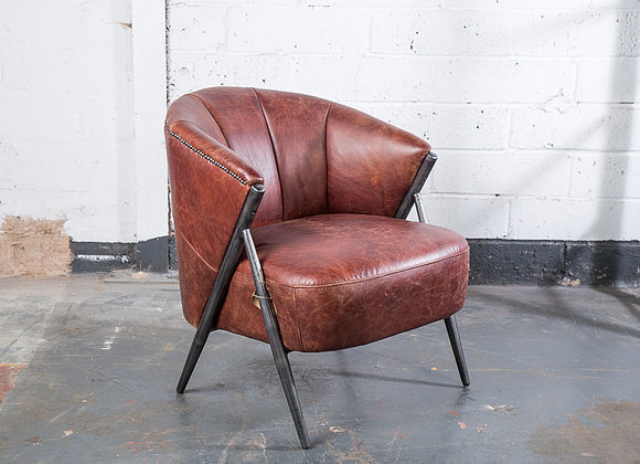Stupendous Modern Industrial Leather And Metal Tub Chair Lamtechconsult Wood Chair Design Ideas Lamtechconsultcom