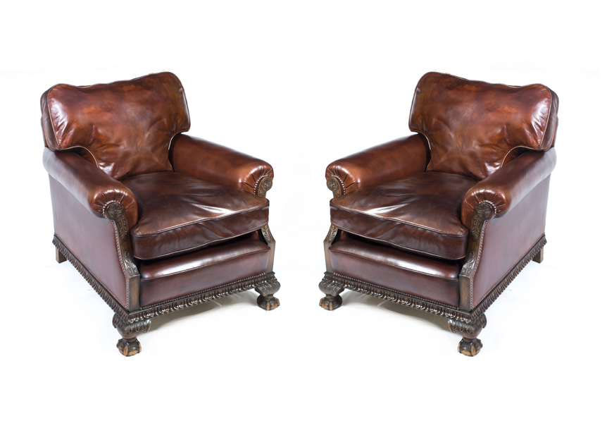 Pair Of Antique English Victorian Leather Armchairs C.1880 photo 1
