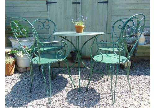 Vintage French Garden Table And 4 Chairs