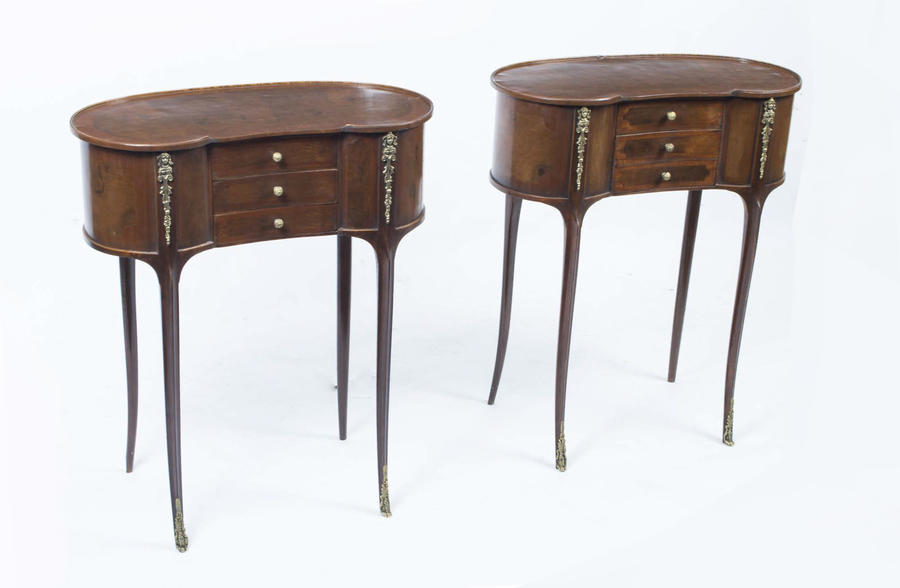 Pair Victorian Style Walnut Kidney Bedside Side Tables photo 1