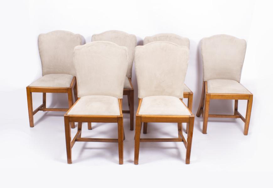 Set Of 6 Walnut Art Deco Dining Chairs Epstein C1930