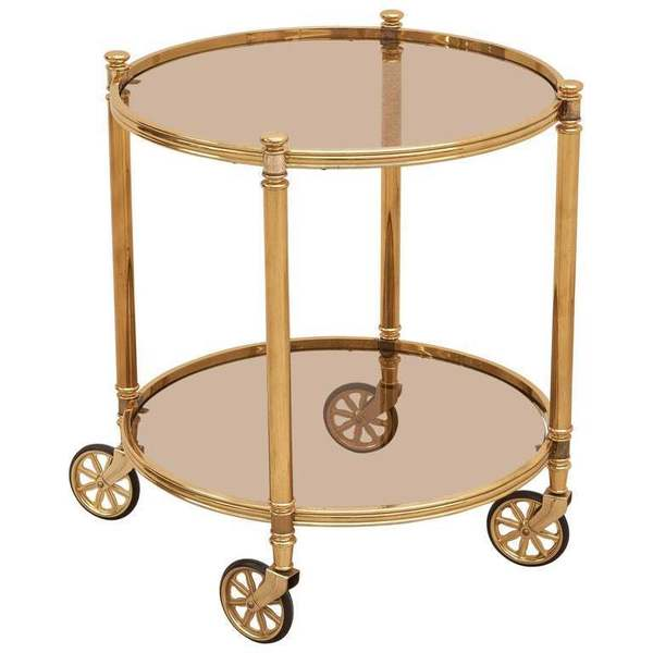 Two Tier Circular Brass Bar Cart With Smoked Glasses, Italy, 1970s