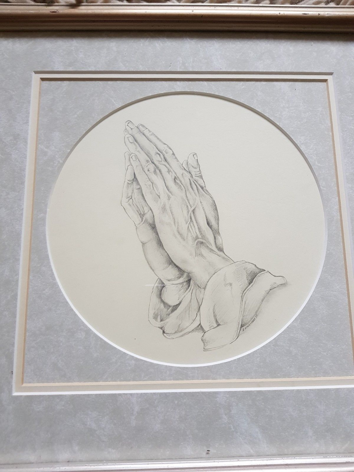 Contemporary signed e lightfoot dated 99 pencil drawing praying hands religious