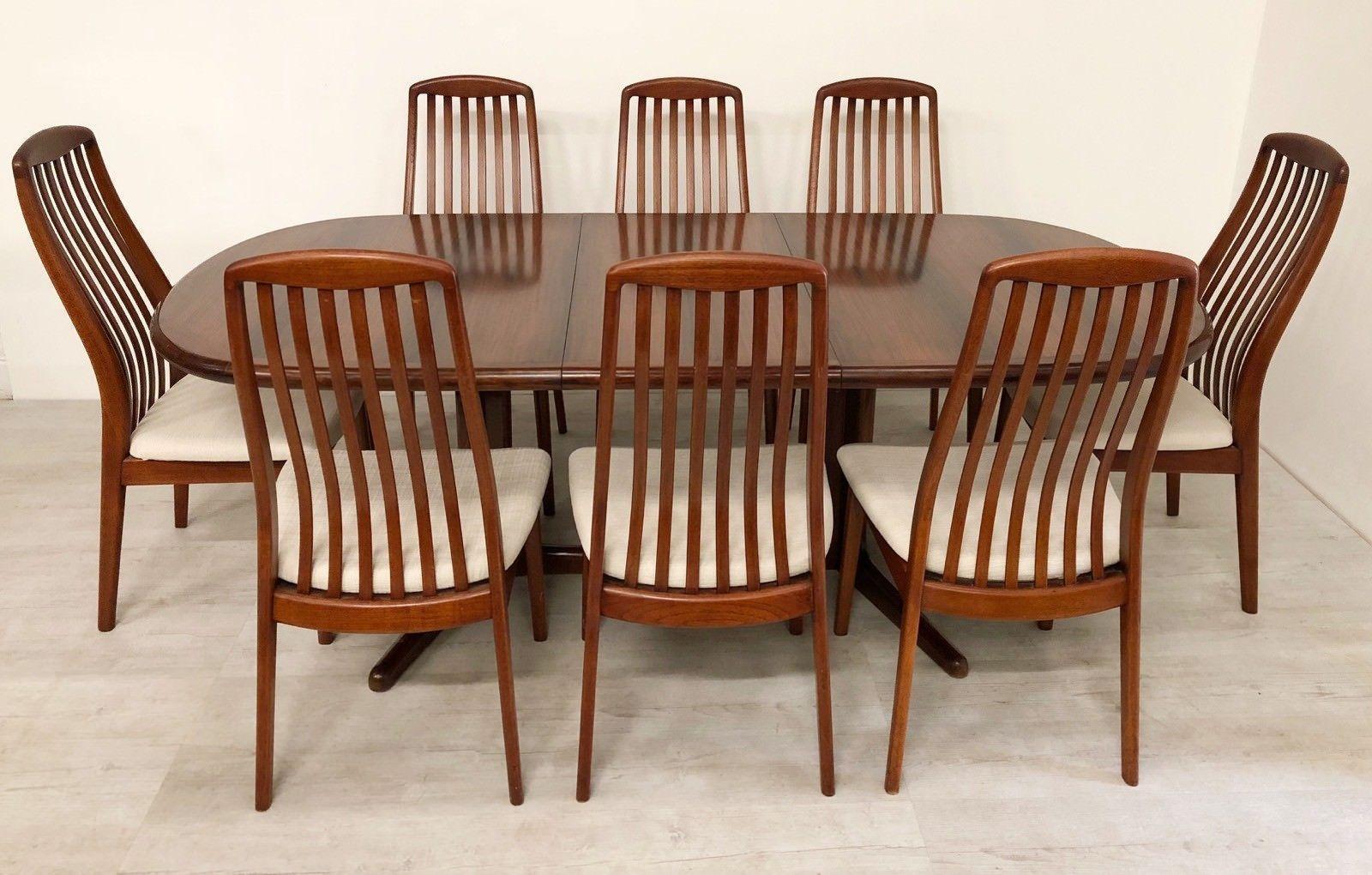 Mid Century Modern Set Of 6 Dyrlund Brazilian Rosewood Danish Dining Chairs