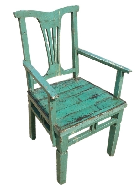 Antique Indian Green Painted Wooden Chair, From Rajasthan