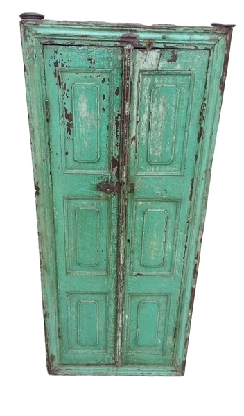 Antique Indian Wooden Shutter With Mirror From Rajasthan