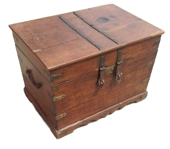 Antique Indian Wooden Chest From Rajasthan